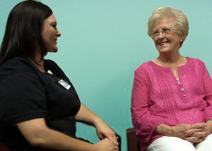 Annette Kinney (right) and Mallorie Kitchens, RN, (left) recall their time spent with her late husband, Charles Kitchens, who received hospice care for over nine months.
